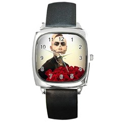 Halloween Skull Tux And Roses  Square Metal Watches by KentChua