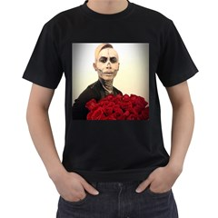 Halloween Skull Tux And Roses  Men s T Shirt (black) (two Sided)