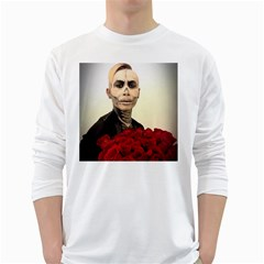 Halloween Skull Tux And Roses  White Long Sleeve T Shirts by KentChua