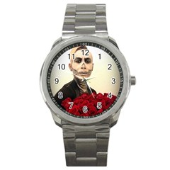 Halloween Skull Tux And Roses  Sport Metal Watches by KentChua