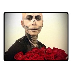 Halloween Skull Tux And Roses  Double Sided Fleece Blanket (small)  by KentChua