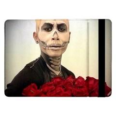 Halloween Skull Tux And Roses  Samsung Galaxy Tab Pro 12 2  Flip Case by KentChua