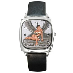 Angel And The Piano Drawing Square Metal Watches by KentChua