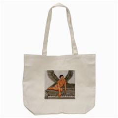 Angel And The Piano Drawing Tote Bag (cream)  by KentChua