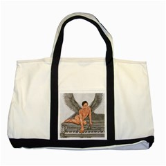 Angel And The Piano Drawing Two Tone Tote Bag  by KentChua