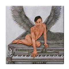 Angel And The Piano Drawing Face Towel by KentChua