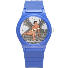 Angel And The Piano Drawing Round Plastic Sport Watch (s) by KentChua