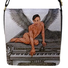 Angel And The Piano Drawing Flap Messenger Bag (s) by KentChua