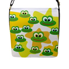 Cute Frog Family Whimsical Flap Messenger Bag (l)  by CircusValleyMall