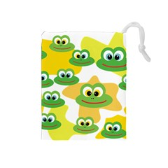 Cute Frog Family Whimsical Drawstring Pouches (medium)  by CircusValleyMall