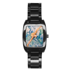 Zodiac Signs Pisces Drawing Stainless Steel Barrel Watch by KentChua