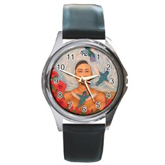 Spring Amazed By The Hummingbirds Drawing Round Metal Watches
