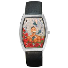 Spring Amazed By The Hummingbirds Drawing Barrel Metal Watches by KentChua