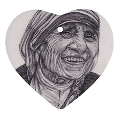 Mother Theresa  Pencil Drawing Ornament (heart)  by KentChua