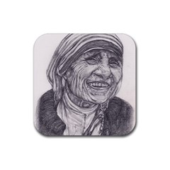 Mother Theresa  Pencil Drawing Rubber Square Coaster (4 Pack)  by KentChua