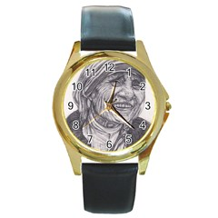 Mother Theresa  Pencil Drawing Round Gold Metal Watches by KentChua