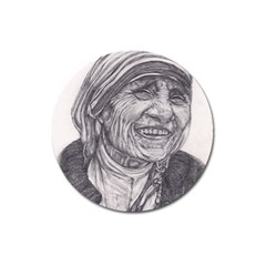 Mother Theresa  Pencil Drawing Magnet 3  (round) by KentChua