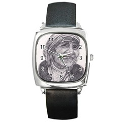 Mother Theresa  Pencil Drawing Square Metal Watches by KentChua