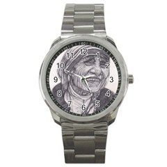 Mother Theresa  Pencil Drawing Sport Metal Watches by KentChua