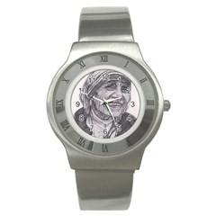 Mother Theresa  Pencil Drawing Stainless Steel Watches by KentChua