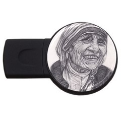 Mother Theresa  Pencil Drawing Usb Flash Drive Round (4 Gb)  by KentChua