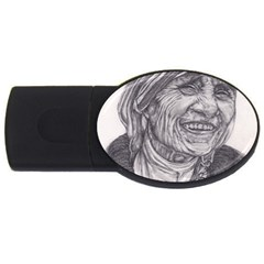 Mother Theresa  Pencil Drawing Usb Flash Drive Oval (4 Gb)  by KentChua