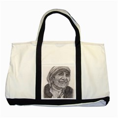 Mother Theresa  Pencil Drawing Two Tone Tote Bag  by KentChua