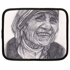 Mother Theresa  Pencil Drawing Netbook Case (large) by KentChua
