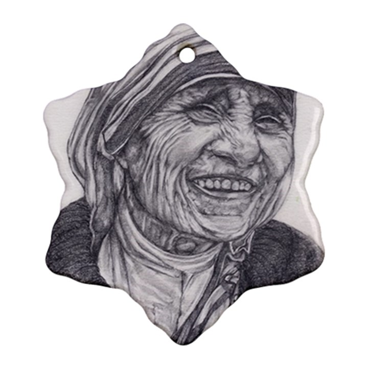 Mother Theresa  Pencil Drawing Snowflake Ornament (2-Side)