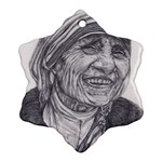 Mother Theresa  Pencil Drawing Snowflake Ornament (2-Side) Back