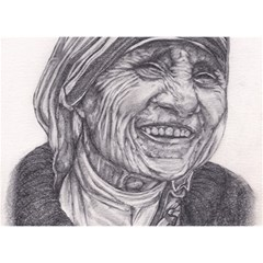 Mother Theresa  Pencil Drawing Birthday Cake 3d Greeting Card (7x5)
