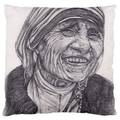 Mother Theresa  Pencil Drawing Large Cushion Cases (one Side)  by KentChua
