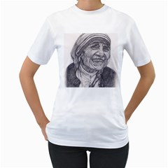Mother Theresa  Pencil Drawing Women s T Shirt (white)  by KentChua