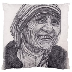 Mother Theresa  Pencil Drawing Large Flano Cushion Cases (two Sides)  by KentChua