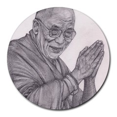 Dalai Lama Tenzin Gaytso Pencil Drawing Round Mousepads by KentChua