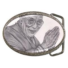 Dalai Lama Tenzin Gaytso Pencil Drawing Belt Buckles by KentChua