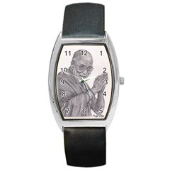 Dalai Lama Tenzin Gaytso Pencil Drawing Barrel Metal Watches by KentChua