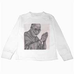 Dalai Lama Tenzin Gaytso Pencil Drawing Kids Long Sleeve T Shirts by KentChua