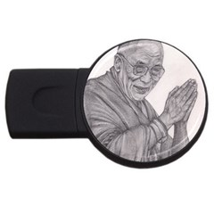Dalai Lama Tenzin Gaytso Pencil Drawing Usb Flash Drive Round (4 Gb)  by KentChua