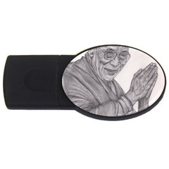 Dalai Lama Tenzin Gaytso Pencil Drawing Usb Flash Drive Oval (4 Gb)  by KentChua