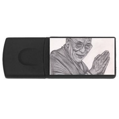 Dalai Lama Tenzin Gaytso Pencil Drawing Usb Flash Drive Rectangular (4 Gb)  by KentChua