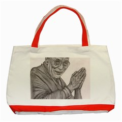 Dalai Lama Tenzin Gaytso Pencil Drawing Classic Tote Bag (red)  by KentChua