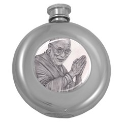 Dalai Lama Tenzin Gaytso Pencil Drawing Round Hip Flask (5 Oz) by KentChua