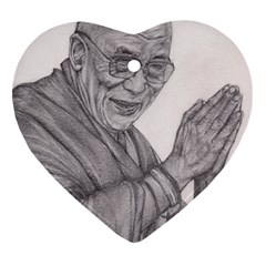 Dalai Lama Tenzin Gaytso Pencil Drawing Heart Ornament (2 Sides) by KentChua