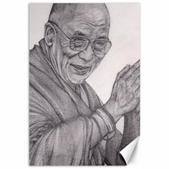 Dalai Lama Tenzin Gaytso Pencil Drawing Canvas 12  X 18   by KentChua