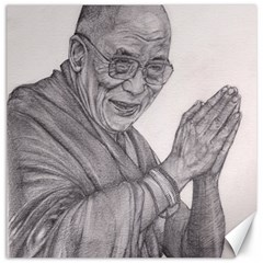 Dalai Lama Tenzin Gaytso Pencil Drawing Canvas 16  X 16   by KentChua