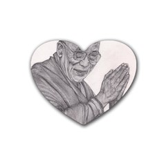 Dalai Lama Tenzin Gaytso Pencil Drawing Rubber Coaster (heart)  by KentChua