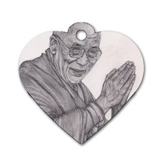 Dalai Lama Tenzin Gaytso Pencil Drawing Dog Tag Heart (one Side) by KentChua