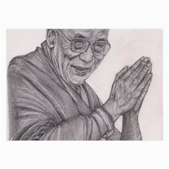 Dalai Lama Tenzin Gaytso Pencil Drawing Large Glasses Cloth (2 Side) by KentChua