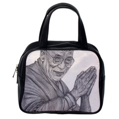 Dalai Lama Tenzin Gaytso Pencil Drawing Classic Handbags (one Side) by KentChua